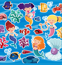 Seamless background with mermaids and fish vector
