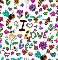 Seamless pattern i love bee vector