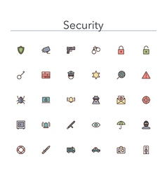 Security Colored Line Icons vector image
