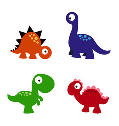 Set cartoon dinosaurs vector