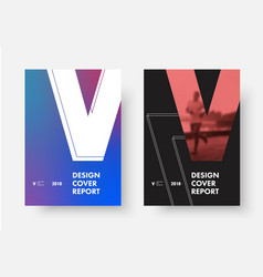 set covers with shape letter v vector image