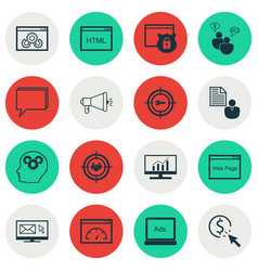 Set of 16 advertising icons includes website vector