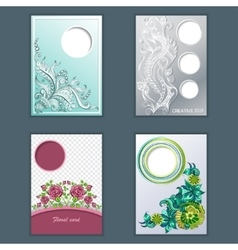 Set of card headline with sketch pattern vector