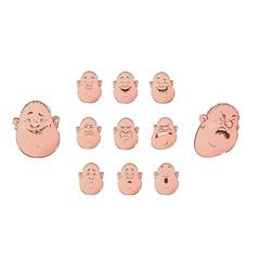 set of male emoji characters flat cartoon style vector image