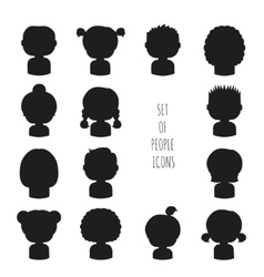 Set of monochrome silhouette people icons Funny vector image