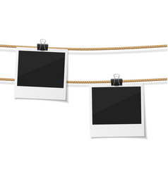 Set of polaroid photo hanged on rope vector