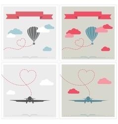 Set of retro cards with aerostat and plane flying vector