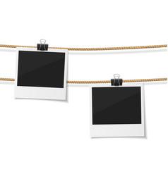 Set polaroid photo hanged on rope vector