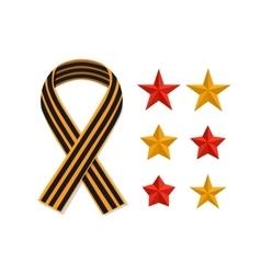 Set St George striped black orange ribbon and vector