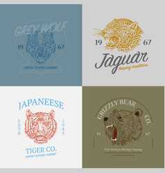 set wild animals logos grunge label print vector image