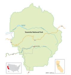 simple overview map yosemite national park vector image