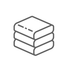 Stacked white towels line icon vector