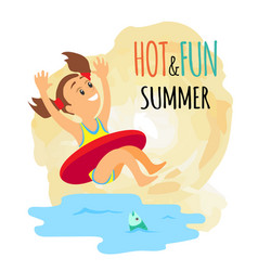 summer activity and swimming girl in lifebuoy vector image