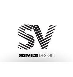 Sv s v lines letter design with creative elegant vector
