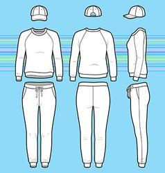 Sweatshirt cap and sweatpants set vector