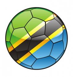 Tanzania flag on soccer ball vector