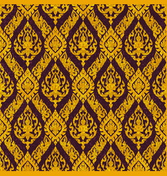 Thai floral motif figure deva seamless vector