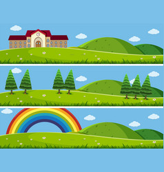 Three background scenes with green lawn vector