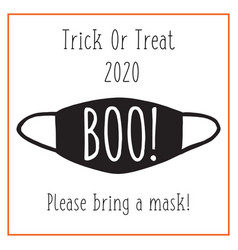 trick or treat halloween 2020 postcard design face vector image