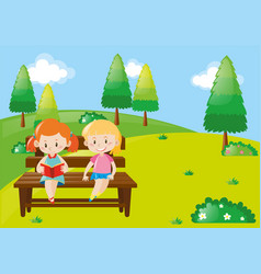 two girls reading book in park vector image