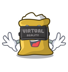 virtual reality flour mascot cartoon style vector image