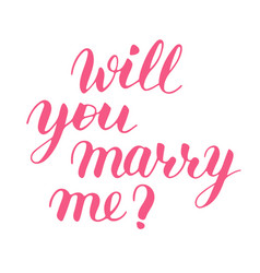 Will you marry me hand drawn lettering vector