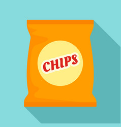 yellow chips pack icon flat style vector image