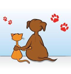 Cat dog friends vector
