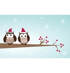 owls christmas branch vector image