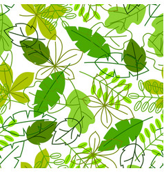 seamless floral pattern with stylized green leaves vector image vector image