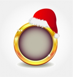 gold button with Santa's hat vector image vector image