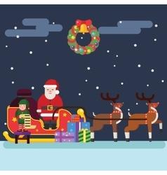 Santa Clause Christmas Elf Reindeer vector image