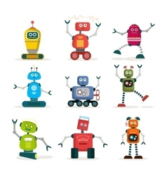 Set of colorful robots flat icons vector