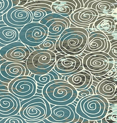 Waves hand drawn pattern background curled vintage vector
