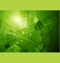 green tech geometric technology background vector image