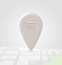 Shopping place pin over local map vector image vector image