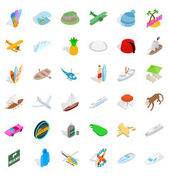 summer adventure icons set isometric style vector image vector image