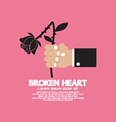 Wither Rose In Hand Broken Heart Concept vector image vector image