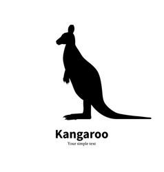 black silhouette kangaroo vector image
