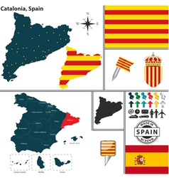 Map of Catalonia vector image vector image