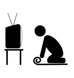 TV yoga tutorial lesson man pictogram flat icon vector image vector image