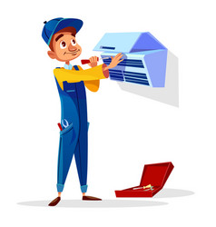 Air conditioner repair man cartoon vector