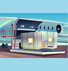 Airplane freight loading delivery logistics vector
