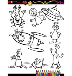 Aliens Cartoon Set for coloring book vector image