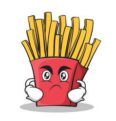 Angry french fries cartoon character vector