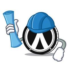 Architect dentacoin mascot cartoon style vector