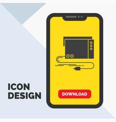 Audio card external interface sound glyph icon in vector