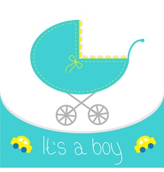 Baby boy shower card Baby carriage Its a boy vector