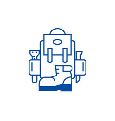 backpack active travel camping boots line icon vector image