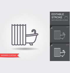 bath with shower curtain line icon with editable vector image
